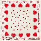 VINTAGE RED HEARTS WITH RED �RIBBONS� VALENTINE HANDKERCHIEF