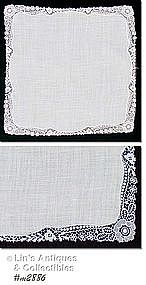WEDDING HANDKERCHIEF WITH FLORAL EDGE