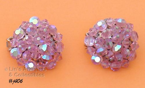 PINK GLASS EARRINGS BY HOBE�