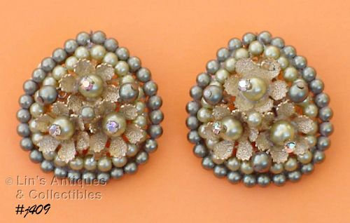 TEAR DROP SHAPE BEADED CLIP BACK VINTAGE EARRINGS