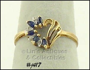 10K RING WITH SAPPHIRES AND DIAMONDS (SIZE 6 1/2)