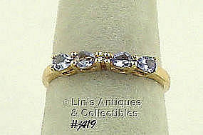 10K RING WITH TANZANITES AND DIAMOND (SIZE 7)