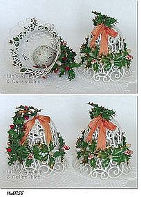 PAIR OF WHITE CHRISTMAS BELLS