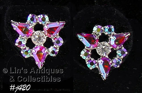 B. DAVID VINTAGE AURORA BOREALIS AND PINK RHINESTONE EARRINGS