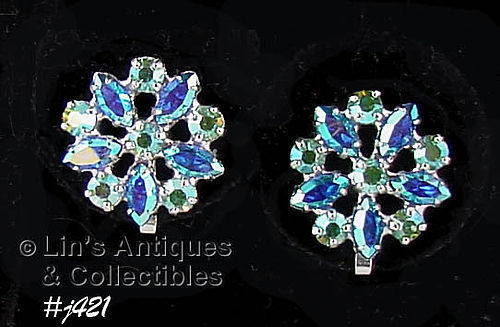 B DAVID AURORA BOREALIS AND BLUE RHINESTONE VINTAGE CLIP EARRINGS