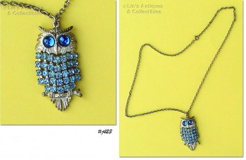 VINTAGE NECKLACE WITH BLUE RHINESTONE BODY OWL PENDANT