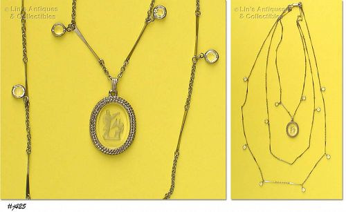 VINTAGE GLASS INTAGLIO CAMEO NECKLACE BY GOLDETTE