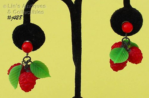 VINTAGE GLASS RED BERRIES AND GREEN LEAVES SCREW BACK EARRINGS
