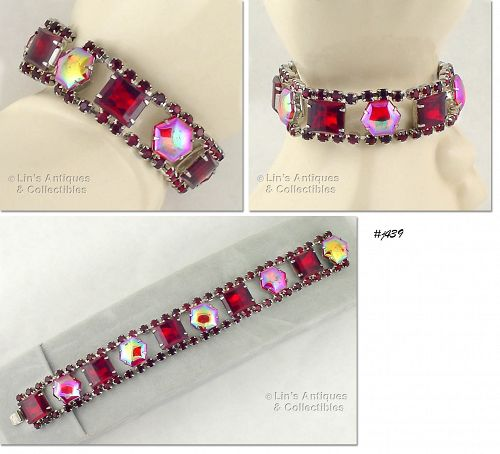 VINTAGE BRACELET WITH RED RHINESTONES