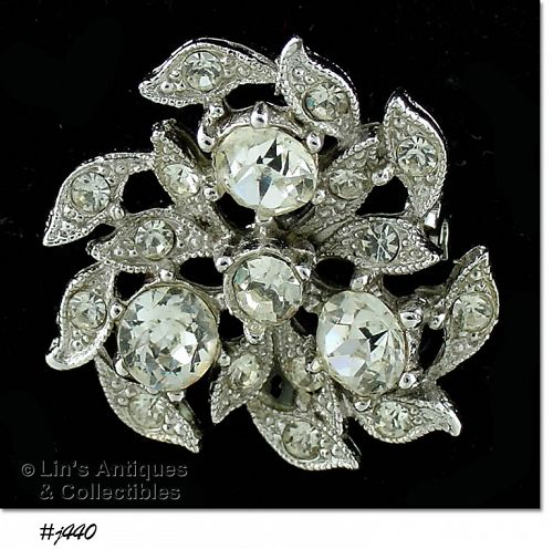 VINTAGE DESIGNER RHINESTONE PIN MARKED BOGOFF