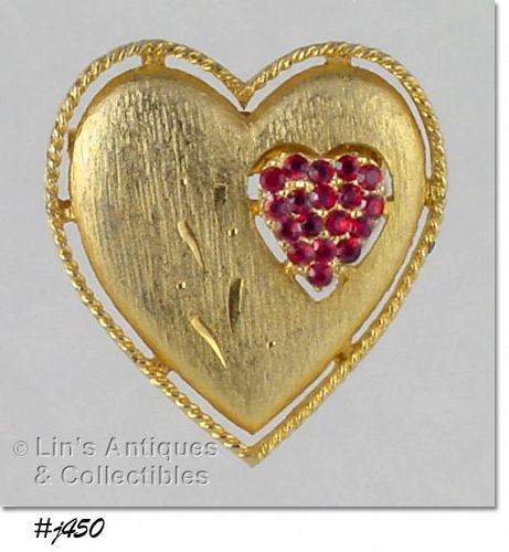 DOUBLE HEART PIN, MARKED J.J.