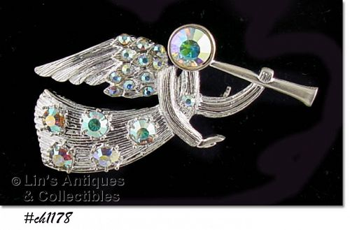 EISENBERG ICE - SILVER-TONE TRUMPETING ANGEL PIN