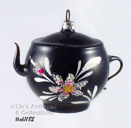 VINTAGE UNUSUAL BLACK WITH WHITE FLOWERS GLASS TEAPOT ORNAMENT