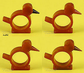 4 BAKELITE BIRD SHAPED NAPKIN RINGS