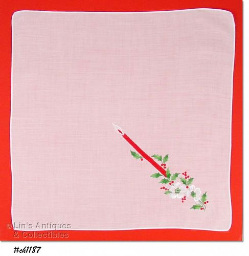 HANDKERCHIEF WITH RED CANDLE AND GREEN HOLLY