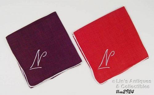 TWO �N� MONOGRAM HANDKERCHIEFS