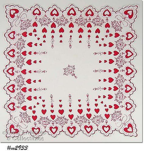 VINTAGE RED HEARTS AND WHITE ROSES VALENTINE HANKY