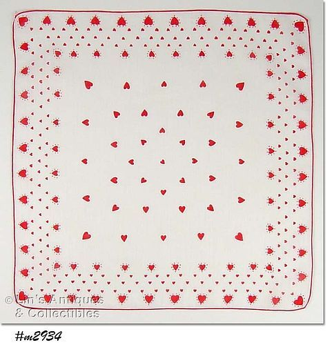 VINTAGE RED HEARTS AND MORE RED HEARTS VALENTINE HANDKERCHIEF