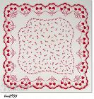 VINTAGE VALENTINE HANDKERCHIEF WITH RED HEARTS AND ROSEBUDS