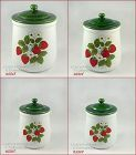 McCOY POTTERY STRAWBERRY COUNTRY 4 PIECE WITH LIDS CANISTER SET