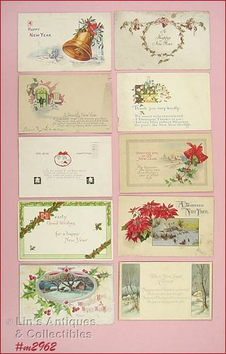 LOT OF 10 VINTAGE NEW YEAR�S POSTCARDS