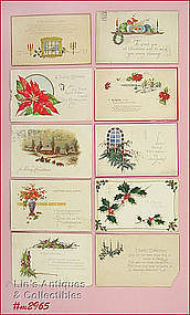 LOT OF 10 VINTAGE CHRISTMAS POSTCARDS