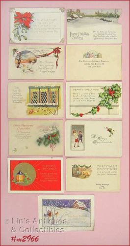 LOT OF 11 VINTAGE CHRISTMAS POSTCARDS