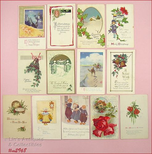 LOT OF 13 ASSORTED VINTAGE HOLIDAY POSTCARDS