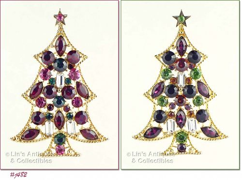EISENBERG ICE MULTI COLOR RHINESTONE TREE PIN CHOICE OF COLOR