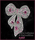 EISENBERG ICE � BOW-SHAPED PINK RHINESTONES PIN