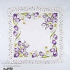 PURPLE TULIPS AND FLORAL BORDER HANDKERCHIEF