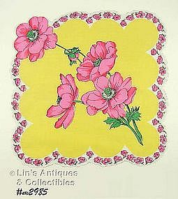 GORGEOUS PINK POPPIES HANDKERCHIEF