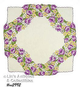LOVELY HANKY WITH PURPLE TULIPS AND UNUSUAL SHAPE