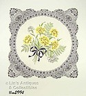 UNUSUAL VINTAGE HANKY WITH YELLOW CARNATIONS AND BLACK BORDER