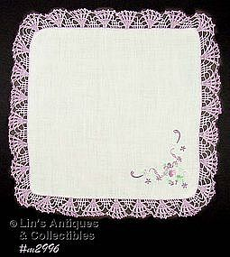LINEN HANKY WITH PURPLE FLOWERS AND CROCHET EDGE