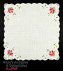 EMBROIDERED PINK ROSES AND WHITE DAISIES HANDKERCHIEF