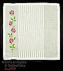 WHITE HANKY WITH EMBROIDERED PINK TRAILING ROSES