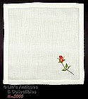 WHITE HANKY WITH EMBROIDERED SINGLE RED ROSE