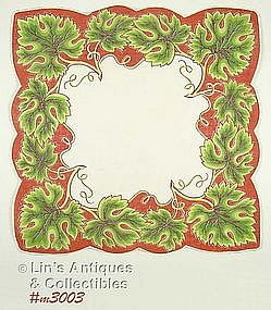 UNUSUAL HANDKERCHIEF WITH GRAPE LEAVES