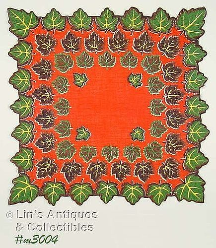 VINTAGE BRIGHT ORANGE COLOR HANKY WITH OAK LEAVES