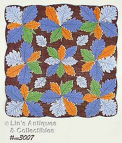 HANDKERCHIEF WITH COLORFUL LEAF CLUSTERS
