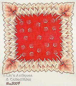 BEAUTIFUL ORANGE/RED HANDKERCHIEF WITH LEAVES