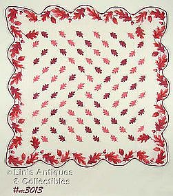 HANDKERCHIEF WITH PINK OAK LEAVES AND ACORNS