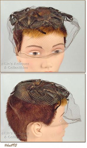 BROWN NETTING VEIL HAT / HEAD COVERING