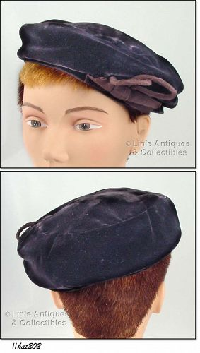 VINTAGE DARK BROWN VELVET HAT