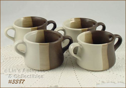 McCOY POTTERY � SANDSTONE DOUBLE HANDLE SOUP BOWLS (4)