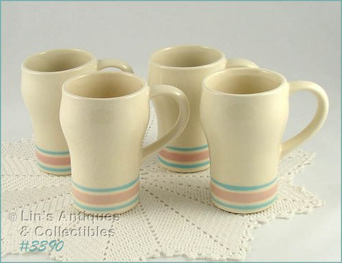 McCOY POTTERY � PINK AND BLUE TALL MUGS (4)