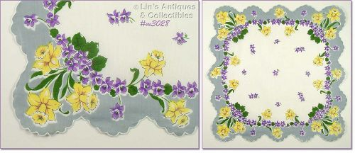 YELLOW DAFFODILS AND PURPLE VIOLETS VINTAGE HANKY HANDKERCHIEF