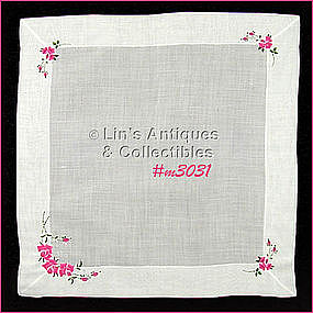 HANDKERCHIEF WITH EMBROIDERED PINK ROSES