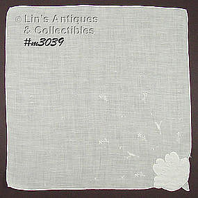 WHITE LINEN HANDKERCHIEF WITH FLOWER CORNER
